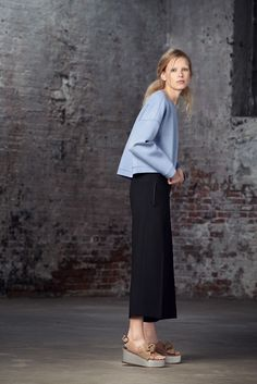 Midi skirt + platforms // Tibi Pre-Fall 2015