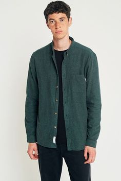 Slide View: 1: Shore Leave by Urban Outfitters Green Brushed Herringbone Shirt