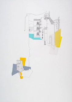 Neighbourhood II, Annalise Rees, 2011. graphite, gouache and trace on paper, 107 x 76 cm.