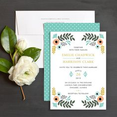 Whimsical Florals Wedding Invitations by Lehan Veenker | Elli
