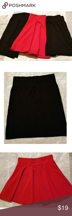 Bundle of 3 Small Skirts Bundle of 1 black bodycon skirt, 1 red skater skirt and 1 black skater skirt. Black bodycon skirt: S/M, thin fabric - 92% Nylon, 8% Spandex. Red skater skirt: S, virbrant red color with elastic waist band. Black skater skirt: XS, 100% cotton with pockets & elastic waist band, minor fading. They all go great with boots & sweaters this season! Feel free to make an offer!     *I'm lucky that my buyers have been nothing short of wonderful, but I video record all…