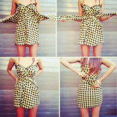 Make a cute dress from a shirt! No sew!