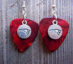 Red Guitar Picks with Silver Patriots Charms Guitar Pick Earrings by ItsYourPickToo on Etsy