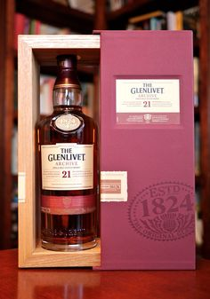 The Glenlivet 21 Single Malt Scotch Whisky. The cover shows about the same amount of sophistication as the spirit it contains. Wine And Liquor, Wine And Beer, Scotch Whiskey, Bourbon Whiskey, Expensive Whiskey, Fun Drinks, Alcoholic Drinks, Alcohol Bottles, Single Malt Whisky