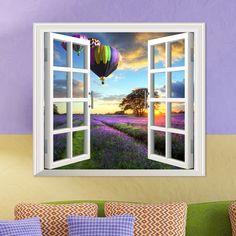 Lavanda pag 3d etiquetas de la pared ventana artificial fuego regalo de la decoración de las habitaciones del globo pegatinas de la pared