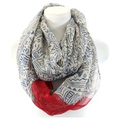 "B109 Aztec Tribal Print Blue Red Infinity Scarf ‼️PRICE FIRM‼️   Aztec Print Infinity Scarf    Aztec print infinity scarf.  Beige with blue print & red accent.  100% viscose.   36"" wide, 36"" long.  Please check my closet for many more items including designer clothing, jewelry, shoes, handbags & more! Boutique Accessories Scarves & Wraps"