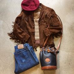 """Vintage Fringe Suede Jacket $82+$16(shipping) domestic. Size  XXS (23""""x18""""). Cropped Levi's Jeans W:29. $54+$16(shipping) and Dooney&Bourke Drawstring Bucket Bag $55+$16(shipping) domestic. Contact the shop at 415-796-2398 to purchase by phone or PayPal afterlifeboutique@gmail.com and reference item in post."""
