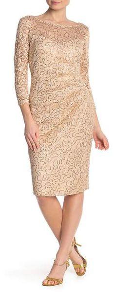 Mother Of The Bride Dresses Long, Mothers Dresses, Gold Plus Size Dresses, Sequin Mesh Dress, White Wedding Dresses, Formal Dresses, Knee Length Cocktail Dress, Lace Dress With Sleeves, Nordstrom Dresses