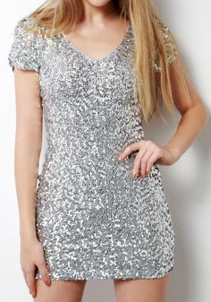 Silver Sequined Dress @LookBookStore
