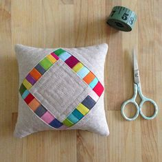 """""""this pincushion was modeled after my diamond pillow pattern. It's about 4 1/2"""" square! hurray for sanity sewing! #thepincushionproject #useitall…"""""""