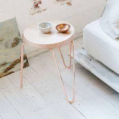Klein/Lozenge side table/stool by Tuckbox. Copper Stool, Table Furniture, Furniture Design, Copper Side Table, Le Tube, Copper Frame, Low Stool, Vogue Living, New Room