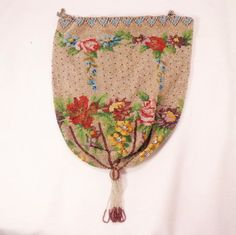 Vintage Floral Fine Beaded Reticule Purse from thatpurseplace on Ruby Lane