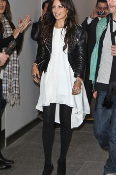 White dress black tights and leather jacket