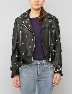 Acne Studios Mock Stud Leather Jacket- Black