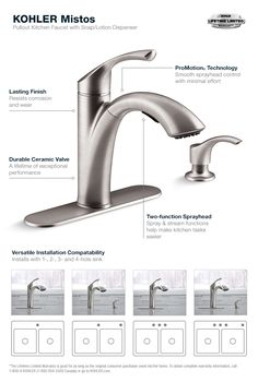Kohler Mistos Single Handle Pull Out Sprayer Kitchen Faucet In Stainless Steel