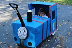 Diy thomas the train costume pinterest cardboard boxes thomas the train from cardboard box on a wagon solutioingenieria Image collections