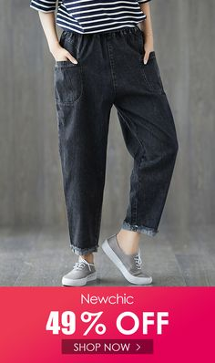 Solid Color Elastic Waist Denim Loose Casual Pants is necessary for cold weather, NewChic will show cheap trendy women Pants & Capris for you. Cheap Fashion, Plus Fashion, Womens Fashion, Casual Pants, Casual Outfits, Pants For Women, Clothes For Women, Dark Denim, Cheap Clothes