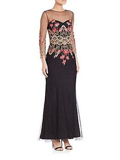 Marchesa Notte Emroidered Tulle Gown - Black - Size 8