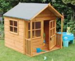 Kids Wooden Playhouse Outdoor Garden Den Childrens Toddler Backyard Play Castle  - Permanent Playhouses