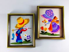 Vintage Girl And Boy Flower Crewel Embroidery Wall Hanging Retro Framed Holly Hobbie Style Fisherman Floral Home Decor Set Of 2 - pinned by pin4etsy.com