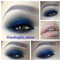 Royal Blue Smokey Eyes with Nude Lips @makeupby_noemi