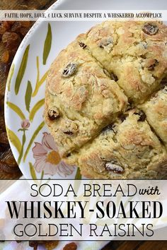 Soda Bread with Whiskey-Soaked Golden Raisins - If you're not overly confident when it comes to baking your own homemade bread, soda bread is a great recipe to start with. It requires no yeast, is quick to make and bake, uses common household pantry and refrigerator items, and is the perfect complement to almost any meal. And, this particular soda bread, with its whiskey-soaked golden raisins, is sure to have you baking bread every single chance you get. Delicious Dinner Recipes, Great Recipes, Salted Or Unsalted Butter, Rich Recipe, Golden Raisins, Soda Bread, Bread Baking, Biscuits, Good Food