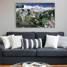 Ski resort trail maps reproduced on gallery wrapped canvas and rustic Maple. Officially licensed by the resort. Outdoor Sofa, Outdoor Furniture, Outdoor Decor, Snowboarding, Skiing, Breckenridge Ski Resort, Colorado Ski Resorts, Trail Maps, Turning