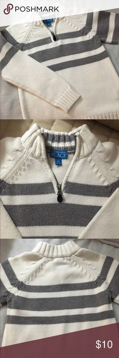 Boy's Children's Place Sweater Boy's Children's Place sweater.  Worn once. White with grey stripes and zippered neck style. Children's Place Shirts & Tops Sweaters