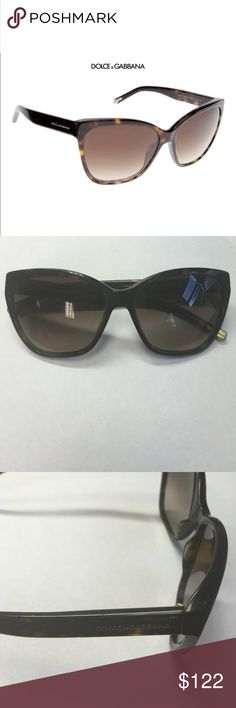 🎉2 HOUR SALE🎉DOLCE & GABBANA SUNGLASSES 🎉 The DG4114 model is super glamorous and are a feminine pair of Dolce & Gabbana sunglasses for ladies, this cat-eye inspired style features a tortoiseshell patterned frame that draws to a point at the upper outer corners, creating a winged effect finish. The arms display the Dolce & Gabbana logo and the lenses are brown with a graduated finish. These sunglasses have been loved. Some scratches on the lens and the arm display shows wear and tear…