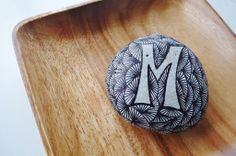 """""""letter M"""" ~ pebbles from Portugal, hand painted by Sabine Ostermann"""