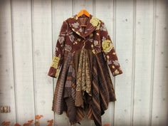 Lg. Bohemian Sweater Coat// Upcycled// Brown Green by emmevielle $160.00  Enter PIN10 at checkout for 10% off.