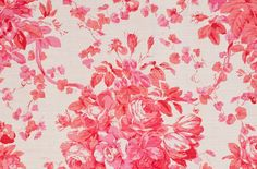 """Roses"" by Bennison Fabrics. Lipstick pink on oyster linen."