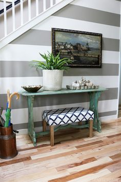 Striped Gray and White Entry Wall - The Inspired Room