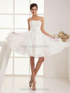 Knee-length Flower(s) Wedding Dresses
