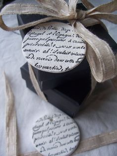 French Script CERAMIC Tags- set of 2