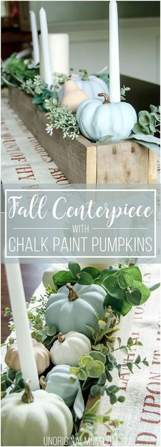 Beautiful pallet box fall centerpiece filled with chalk painted pumpkins. Great … Beautiful pallet box fall centerpiece filled with chalk painted pumpkins. Great neutral fall decor that will last through Thanksgiving! Pumpkin Centerpieces, Thanksgiving Centerpieces, Rustic Centerpieces, Centrepiece Ideas, Fall Home Decor, Autumn Home, Fall Mantle Decor, Rustic Thanksgiving, Thanksgiving Crafts