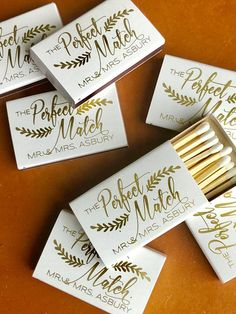 Wedding Matchboxes Wedding Matches Monogrammed Personalized Custom Matches Wedding Favor Perfect Match We Got Lit Sparks Flew Wedding Souvenirs For Guests, Creative Wedding Favors, Inexpensive Wedding Favors, Wedding Favors For Guests, Personalized Wedding Favors, Wedding Ideas, Wedding Planning, Wedding Thank You Gifts, Wedding Decorations