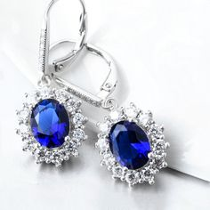 NEW Brincos 925 Sterling Silver Drop Earrings High High quality Blue Sapphire Earrings with White Spherical Cubic Zircon - Silver Jewellery 925 - SHOP NOW The Sapphires, Sapphire Earrings, Women's Earrings, Blue Sapphire, Star Sapphire, Sterling Silver Earrings, Fashion Jewelry, Women Jewelry, White Gold