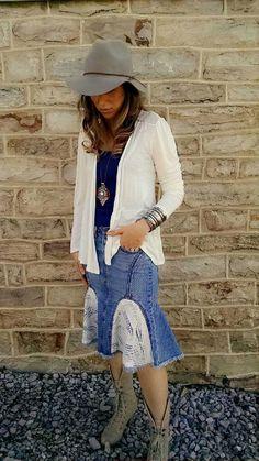 Bohemian, Upcycled, Lace, Denim Blue, Jean Skirt- Boho Clothing, Maxi Skirt, Pencil Skirt by AmyandAnnaDesigns on Etsy https://www.etsy.com/listing/228375117/bohemian-upcycled-lace-denim-blue-jean