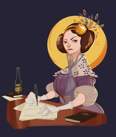 A Tribute to Ada Byron Lovelace (Art-stuff of Powersimon! Ada Lovelace, Black Artwork, Feminist Art, Badass Women, Women In History, First World, Animated Gif, Graphic Illustration, Art For Kids