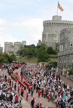 Order of the Garter procession at Windsor.  Most senior and oldest British Order of Chivalry founded by Edward III in 1348