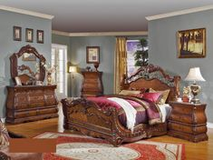 Cleopatra Cherry Wood Master Bedroom Set | Cosmos Furniture ...