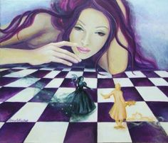 Surreal art woman on purple & white checkered floor watching couple