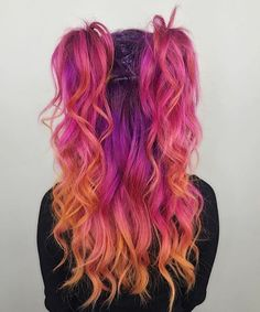 Beauty: Fantasy Unicorn Purple Violet Red Cherry Pink yellow Bright Hair Colour Color Coloured Colored Fire Style curls haircut lilac lavender short long mermaid blue green teal orange hippy boho ombré woman lady pretty selfie style fade makeup grey white silver trend trending Pulp Riot #fantasymakeup