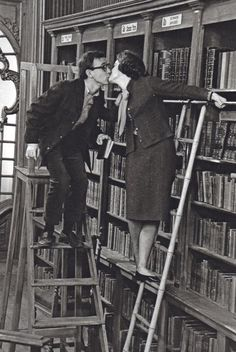Woody Allen rocks it in the library.