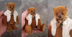 Image of Cedrick, Miniature Cinnamon Mohair Artist Teddy Bear from Aerlinn Bears