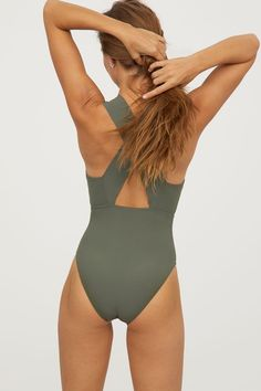 V-neck swimsuit | Khaki green | LADIES | H&M IL #style#swimsuit#womensfashion