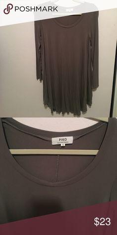 Piko Long Sleeve Swing Dress- Army Green Army Green long sleeve Piko dress. 95% bamboo, 5% spandex. Barely worn, great condition 💕 Piko 1988 Dresses Long Sleeve