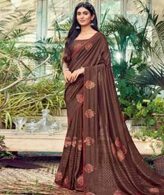 Chanderi Silk Saree Chanderi Silk Saree, Silk Sarees, Long Cut, Blouse Online, How To Dye Fabric, Color Shades, Head To Toe, Brown, Collection