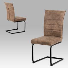 Jídelní židle koženka hnědá / černý lak | Artium | BeautifulHome.cz